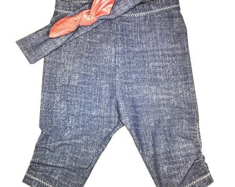 Blue Jean Baby Baby Leggings & Headband