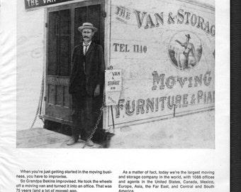 "1960s Bekins Van Lines original vintage magazine ad ""Grandpa Bekins took the wheels off a moving van for a office"""