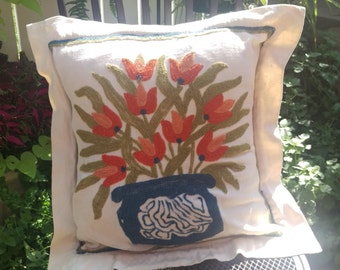 Boho vintage Pillow Cover, Hand Embroidered in Kashmir India, Case Cotton, EmbroideryWool, 1960 Modern, Mid Century Modern