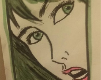 comic style drawing of wo ens face
