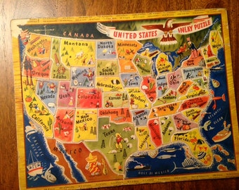 Vintage United States Map Inlay Puzzle - 1950s