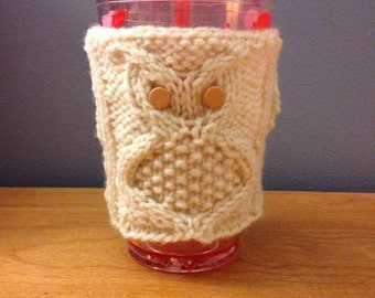 Hand knitted owl cup cozy