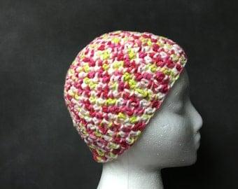 Multi pink white crochet beanie