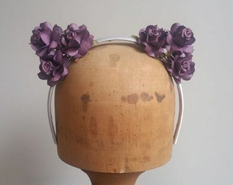 Flower Crown -  Cat Ears Fascinator Musky Purple