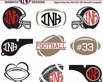 Football SVG Cut Files - Monogram, Clipart, Screen Printing, Silhouette, Cut Machines, & More - Vol.2
