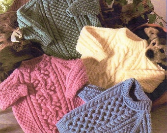Childrens Aran Sweaters, 4 Styles, Knitting Pattern. PDF Instant Download.
