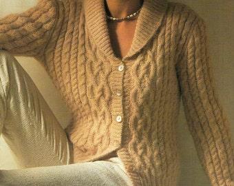 Aran Cardigan With Shawl Collar, Knitting Pattern. PDF Instant Download.