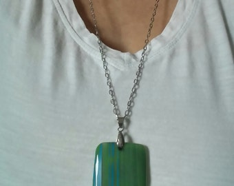 Chain steel stainless/agate striped blue and green/rectangle/collar short/hypoallergenic