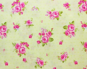 Floral Fabric / Pink Rose / Yellow / Cotton / Pretty / Quilts Patch Dress Shirt Skirt Sheets Covers / Half Metre
