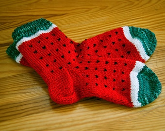 Watermelon Socks. Hand knit socks. Womens socks