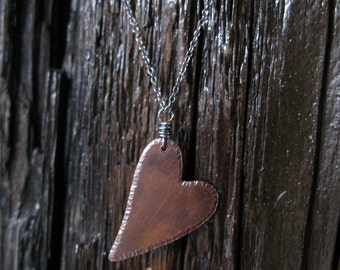 Hammered Copper and Sterling Silver Necklace