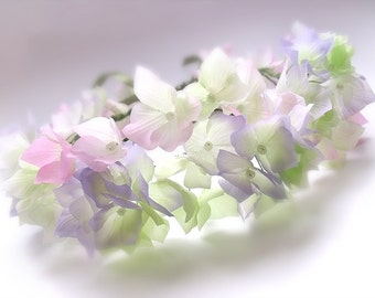 bridal flower hair wreath, hydrangea flowers, pastel shades, accessories for flower girls, flower fairy,Headpiece