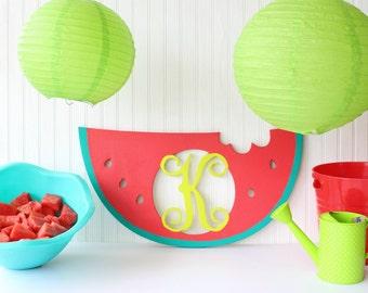 Watermelon Monogram, summer decorations, watermelon, summer decor, watermelon party, birthday party ideas