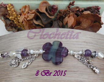 Bracelet in 18kt fluorite and Amethyst