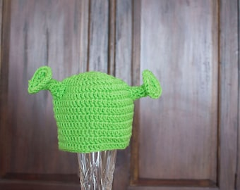 Crocheted costume Shrek hat, newborn toddler child teen and adult hat, lime green hat, photo prop, hat with ears