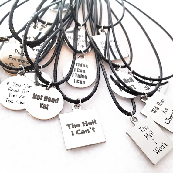 CrossFit Jewelry, Gifts for Runners, Quote Charm Necklaces, Inspirational Fitness Sports Gift, Athlete Team Coach Trainer Gifts, Team Swag