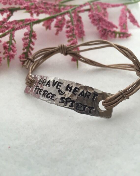 Engraved Leather Bracelet - Hand Stamped Charm - Wrap Bracelet - Leather Wrap Bracelet - Courage Gifts - Brave Heart Fierce Spirit Bracelet