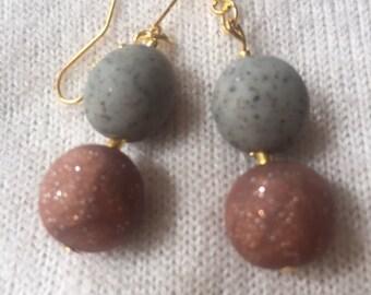 Dangle bead earrings.  Polymer clay beads