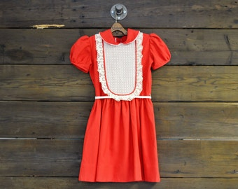 Red & White Lace Bibbed Babydoll Dress // X-Small // Small
