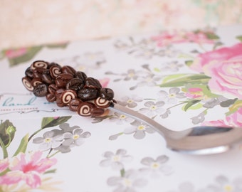 Polymer Clay Spoon Sweet Spoon Coffee beans spoon Coffee lovers Dessert spoon Tasty spoon