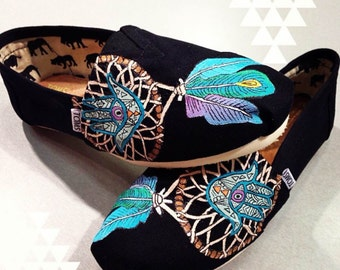 Hamsa Dream Catcher Hand Painted TOMS Shoes