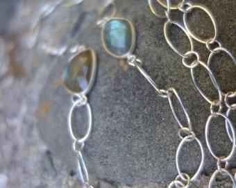 Labradorite Sterling Silver Chain Necklace