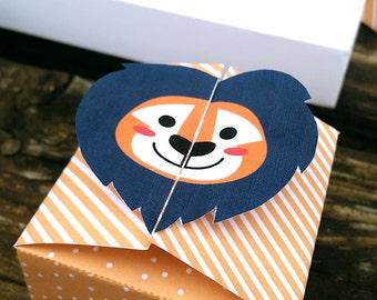 Gift box - Lion Box. Surprise Box. Circus Party. Animal Party. Lion Party. Circus Box. Printable Box.