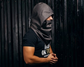 Scarves for men / Hooded scarf /  Scarf with hood / Cyberpunk wear / Scoodie / cowl neck hoodie /  mens scarves /  Black scarf / snood scarf