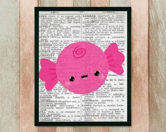 CUTE Kawaii HARD CANDY Dictionary Art Print Page, Book Page Art Prints,Upcycled Vintage Book Pages, Dictionary Prints, Dictionary Posters