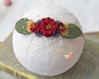 Spring Collection E, Newborn dainty headband, newborn tieback, newborn photography prop - RTS
