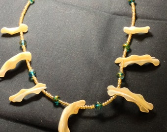 mother of pearl, blue green and gold necklace