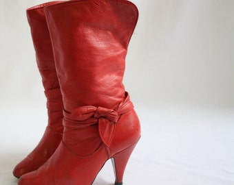 Vintage Red leather 80's boot