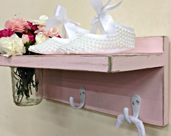 Shabby Chic Shelf With Mason Jar Vase and Hooks/Baby Girl Decor/Country Cottage Distressed Shelf/Key Holder Shelf/Bathroom Decor/Pink Shelf