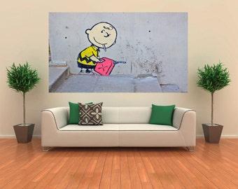 Banksy Bad Boy Charlie Brown Street Art Canvas Print Huge 36 x 24 print