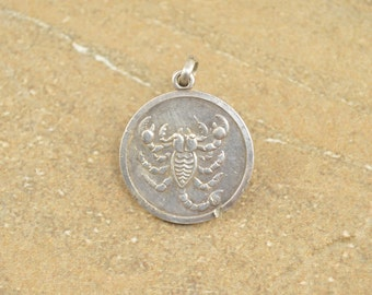 Embossed Scorpion Zodiac Scorpio Medallion Pendant Sterling Silver 4.3g Vintage Estate