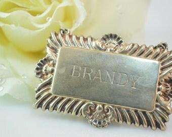 """Vintage """"Brandy"""" Engraved Fancy Name Tag Silver 12.7g Vintage Estate"""