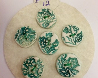 6 Green Foliage Buttons