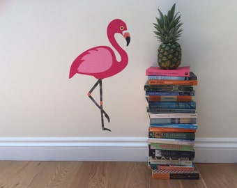 Flamingo Wall Decal - Flamingo Wall Sticker - Pink Flamingo - Flamingo Wall Art - Pink Flamingo Decal - Tropical Art - Girls Room Decor