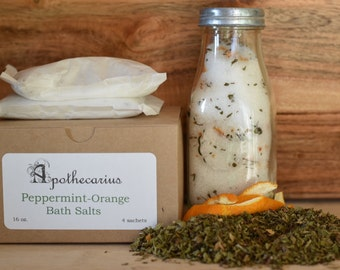 Apothecarius Peppermint-Orange Therapeutic Bath Salt Sachets (4)