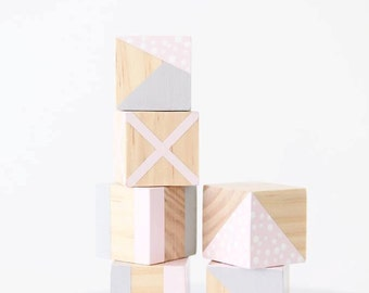Baby Blocks, Wooden Blocks, Wooden Toys, Wooden Decor, Hand Painted Wooden Blocks, Nursery Decor, Mixed Set