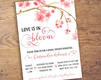 Custom Floral Cherry Blossom Watercolor Wedding Bridal Shower Printable Invitation- Pink Flowers- Digital File- Spring Blooms