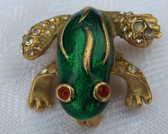SALE:  Adorable Vintage Good Luck Gold Frog Brooch with Green Enamel and Rhinestones