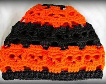 Orange and Black Skull Hat, Halloween Skull Hat