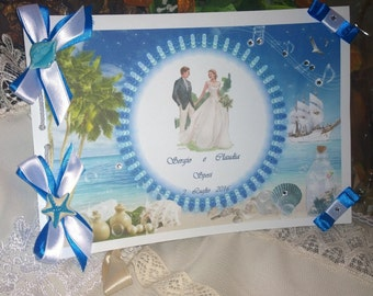 Guest Book or book of dedications personalized wedding sea theme