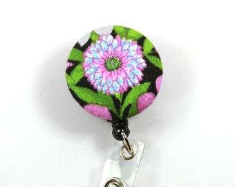 PURPLE flower lanyard, Flower badge reel, button badge reel, Flower Button Badge, Retractable badge Reel