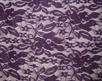 Eggplant 4 way stretch lace Fabric