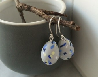 Speckled egg blue drop earrings