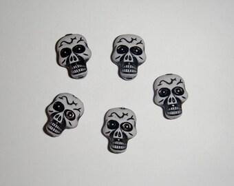 Black and White Skull Beads- Set of 10