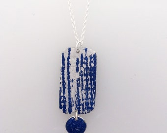 Blue Oblong Circle Textured Necklace