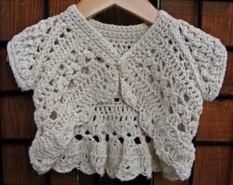 Hand crocheted girl's Shrug- 6-18 months, cotton/linen blend yarn